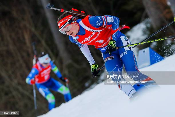 Veronika Vitkova of Czech Republic takes 3rd place during the IBU Biathlon World Cup Men's and Women's Mass Start on January 14 2018 in Ruhpolding...
