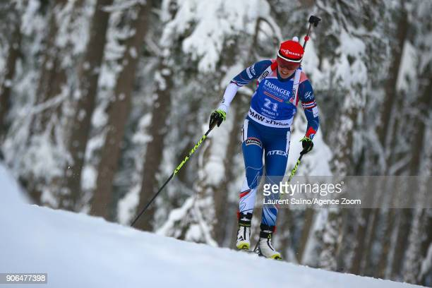 Veronika Vitkova of Czech Republic takes 3rd place during the IBU Biathlon World Cup Women's Sprint on January 18 2018 in AntholzAnterselva Italy