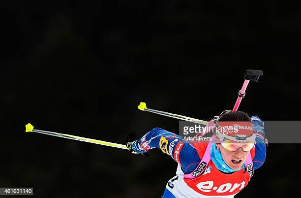Veronika Vitkova of the Czech Republic in action during the IBU Biathlon World Cup Women's Sprint on January 16, 2015 in Ruhpolding, Germany.