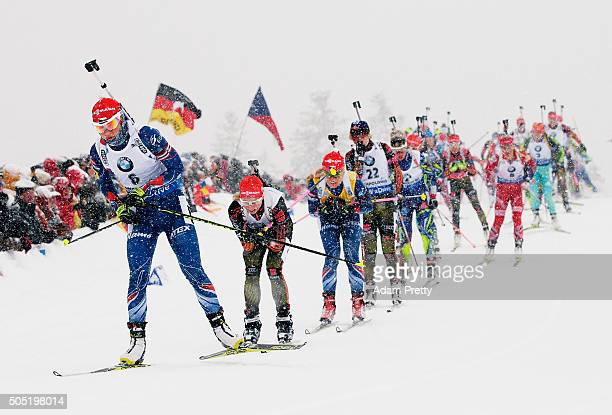 Veronika Vitkova of the Czech Republic in action during the Women's 125km Biathlon race of the Ruhpolding IBU Biathlon World Cup on January 16 2016...