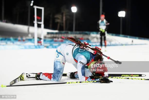 Veronika Vitkova of the Czech Republic looks dejected after the Women's 125km Mass Start Biathlon on day eight of the PyeongChang 2018 Winter Olympic...