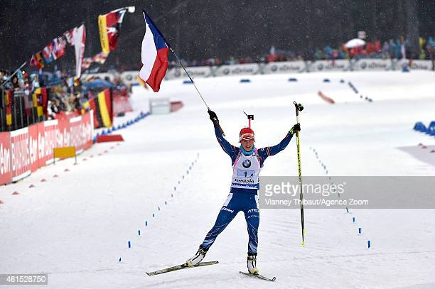 Veronika Vitkova of the Czech Republic takes 1st place during the IBU Biathlon World Cup Women's Relay on January 14 2015 in Ruhpolding Germany
