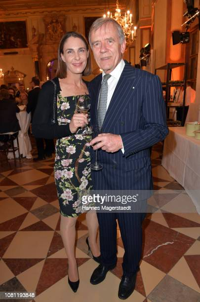 Veronika von Waldenfels and Dr Georg Freiherr von Waldenfels during the new year reception of the Bavarian state government at Residenz on January 11...