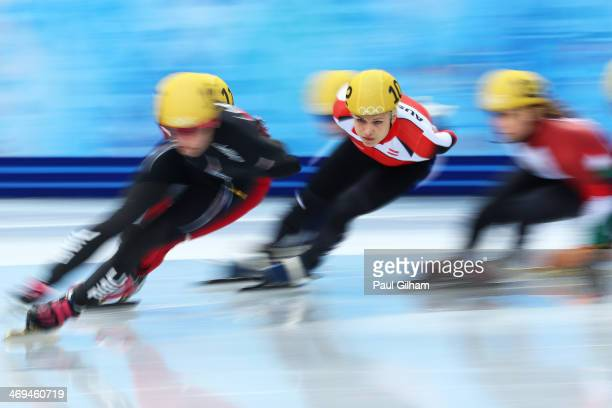 Veronika Windisch of Austria skates during the Ladies' 1500m Short Track Speed Skating heats on day 8 of the Sochi 2014 Winter Olympics at the...