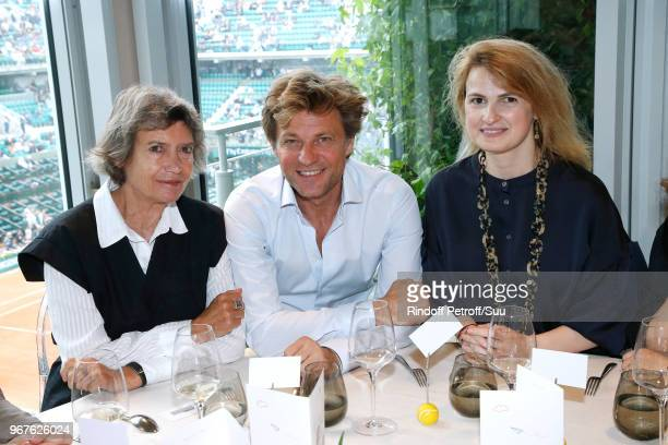 Veronique Cayla Laurent Delahousse and Beatrice de Clermont Tonnerre attend the 'France Television' Lunch during the 2018 French Open Day Ten at...