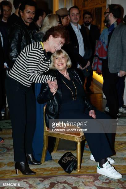 """Veronique Colucci and Marianne Faithfull attend Marie-Agnes Gillot is decorated """"Chevalier de lordre national de la Legion d'Honneur"""" at Ministere de..."""