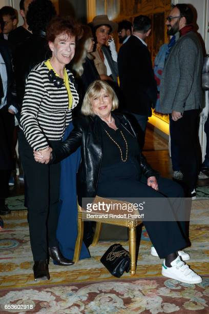 Veronique Colucci and Marianne Faithfull attend MarieAgnes Gillot is decorated 'Chevalier de lordre national de la Legion d'Honneur' at Ministere de...