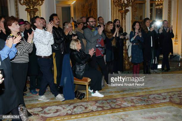 Veronique Colucci Haider Ackermann Marianne Faithfull Dominique Issermann and Simony Monteiro attend MarieAgnes Gillot is decorated 'Chevalier de...