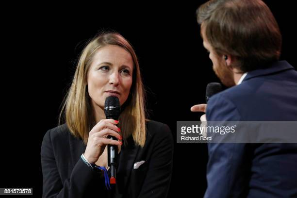 Veronique de Viguerie and Alexandre Kouchner on stage during the Introductory Session To The 7th Summit Of Les Napoleons at Maison de la Radio on...