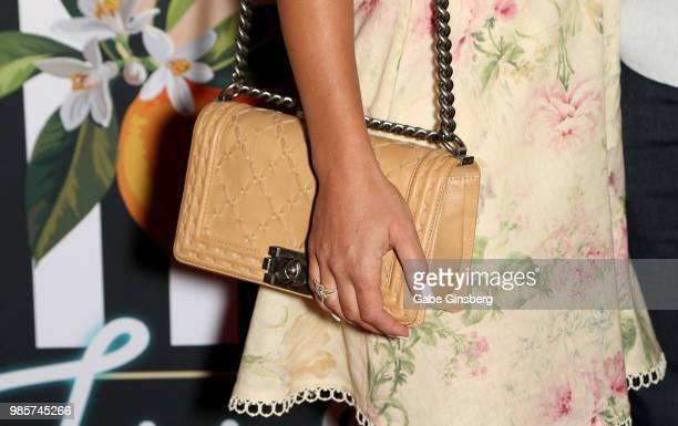 Veronique Fleury purse ring detail attends the grand opening of the 'Gwen Stefani Just a Girl' residency at Planet Hollywood Resort Casino on June 27...