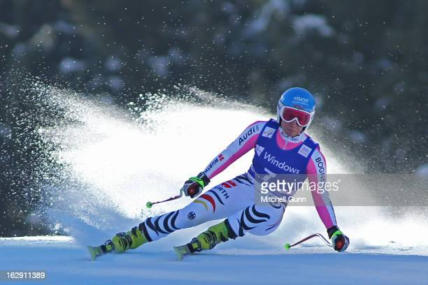 Veronique Hronek of Germany races down the course competing in the Audi FIS Ski World Cup Women's SuperG on March 01 2013 in Garmisch Partenkirchen...