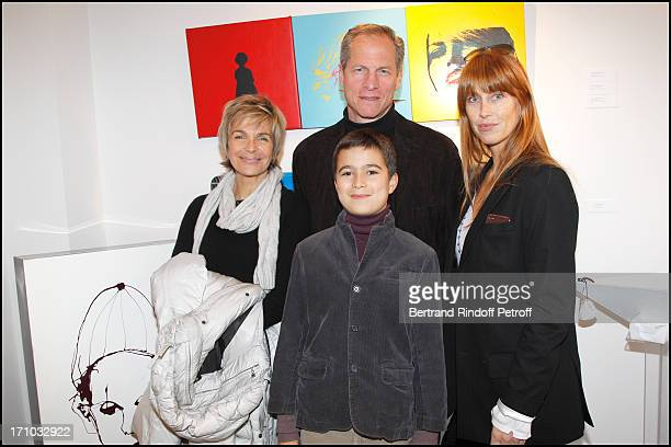 Veronique Jannot Francois Lamore and son Sophie Clerico Delon at Exhibition Opening Of The Collection Nicolas Laugero Lasserre At Gallery Galerie...