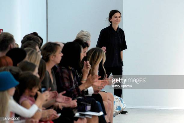 Veronique Leroy acknowledge the audience during the Veronique Leroy show as part of Paris Fashion Week Womenswear Spring/Summer 2014 on September 28,...
