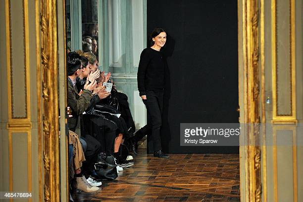 Veronique Leroy acknowledges the audience during the Veronique Leroy show as part of Paris Fashion Week Womenswear Fall/Winter 2015/2016 on March 7,...