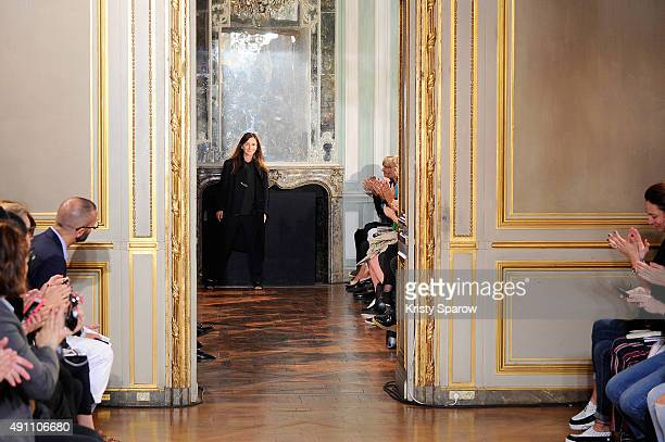 Veronique Leroy acknowledges the audience during the Veronique Leroy show as part of Paris Fashion Week Womenswear Spring/Summer 2016 on October 3,...