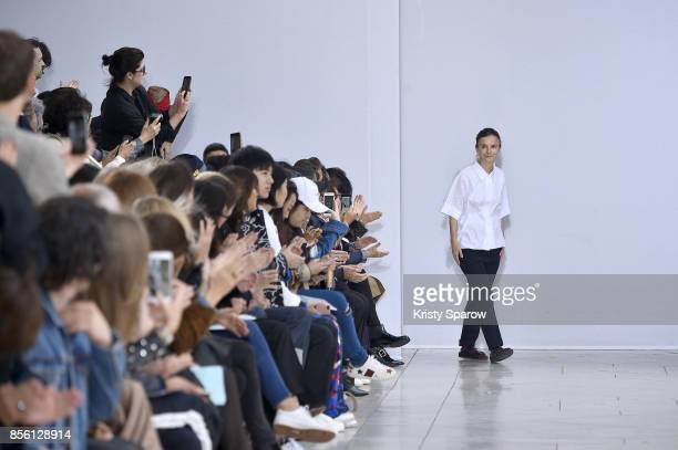 Veronique Leroy acknowledges the audience during the Veronique Leroy show as part of Paris Fashion Week Womenswear Spring/Summer 2018 on September...