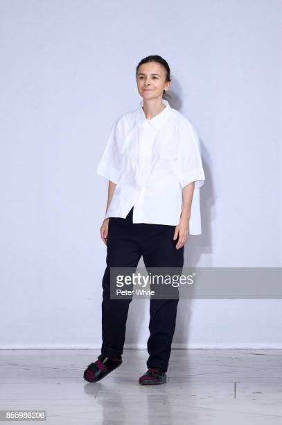 Veronique Leroy walks the runway at the endo of her show as part of the Paris Fashion Week Womenswear Spring/Summer 2018 on September 30, 2017 in...