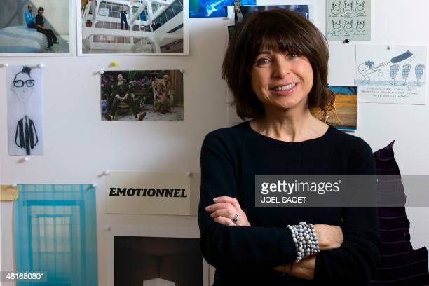 Veronique Nichanian menswear fashion designer at Hermes poses in her office in Paris on January 10 2014 AFP PHOTO / JOEL SAGET