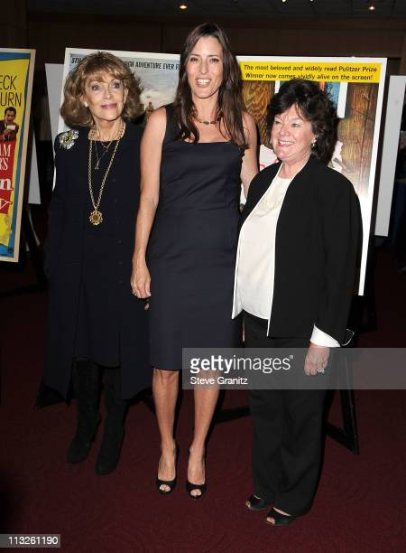 Veronique Peck Cecilia Peck and Mary Badham attend the Gregory Peck Legends Of Hollywood Stamp Series Ceremony at AMPAS Samuel Goldwyn Theater on...