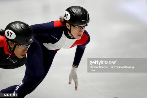 Veronique Pierron of France competes during the ladies 1000 meter final A during the ISU Short Track World Cup Day 2 at Tazzoli Ice Rink on February...