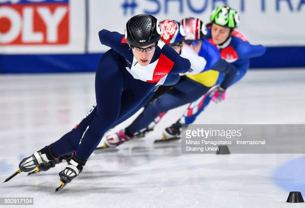Veronique Pierron of France competes in the women's 1000 meter heats during the World Short Track Speed Skating Championships at Maurice Richard...