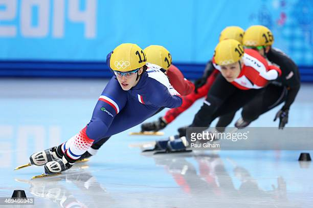 Veronique Pierron of France leads the pack during the Ladies' 1500 m B Final Short Track Speed Skating on day 8 of the Sochi 2014 Winter Olympics at...