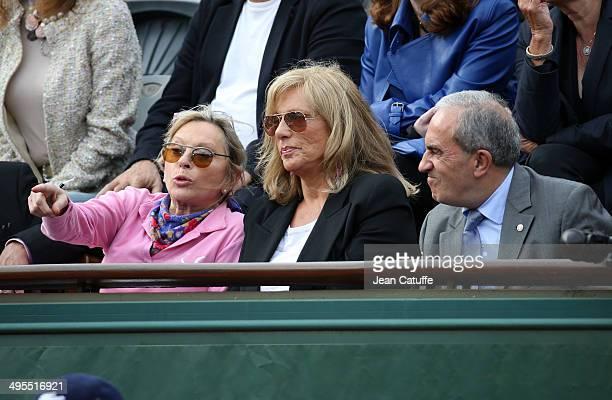 Veronique Sanson Christine Caron aka Kiki Caron and Jean Gachassin president of the French Tennis Federation attend Day 10 of the French Open 2014...
