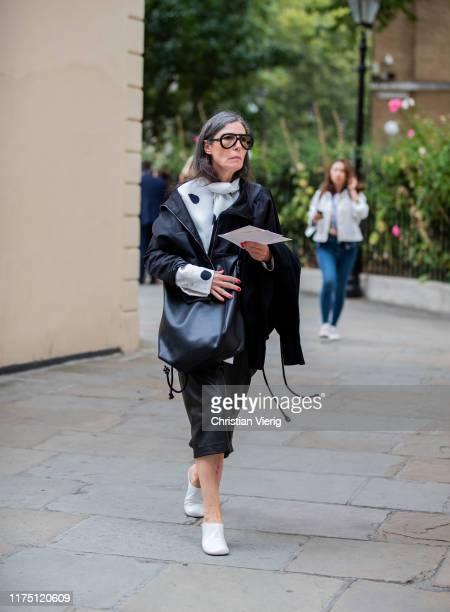 Veronique Tristam is seen outside Erdem during London Fashion Week September 2019 on September 16, 2019 in London, England.