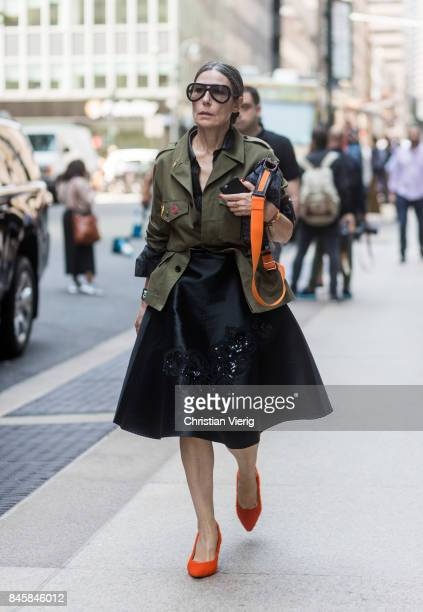 Veronique Tristram seen in the streets of Manhattan outside Derek Lam during New York Fashion Week on September 11 2017 in New York City