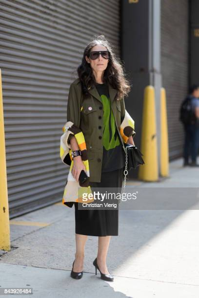 Veronique Tristram seen in the streets of Manhattan outside Desigual during New York Fashion Week on September 7 2017 in New York City