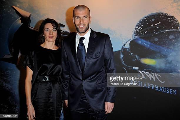 Veronique Zidane and Zinedine Zidane attend the IWC Schaffhausen Party during the Salon International de la Haute Horlogerie at Geneva Palexpo on...