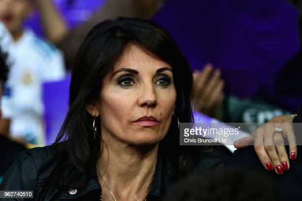 Veronique Zidane the wife of Manager of Real Madrid Zinedine Zidane looks on before the UEFA Champions League final between Real Madrid and Liverpool...