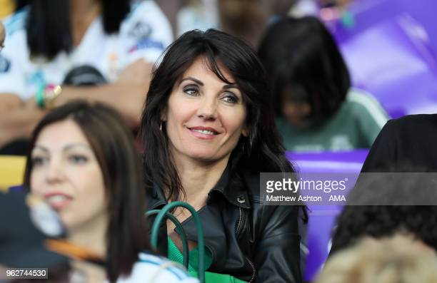 Veronique Zidane the wife of Zinedine Zidane the head coach / manager of Real Madrid looks on before the UEFA Champions League final between Real...