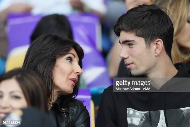 Veronique Zidane the wife of Zinedine Zidane the head coach / manager of Real Madrid and son Theo watch the UEFA Champions League final between Real...