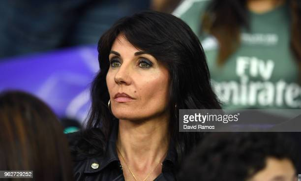 Veronique Zidane Wife of Zinedine Zidane is seen in the stands prior to the UEFA Champions League Final between Real Madrid and Liverpool at NSC...