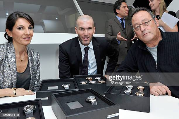 Veronique Zidane Zinedine Zidane and Jean Reno visit the IWC booth during the Salon International de la Haute Horlogerie 2013 at Palexpo on January...