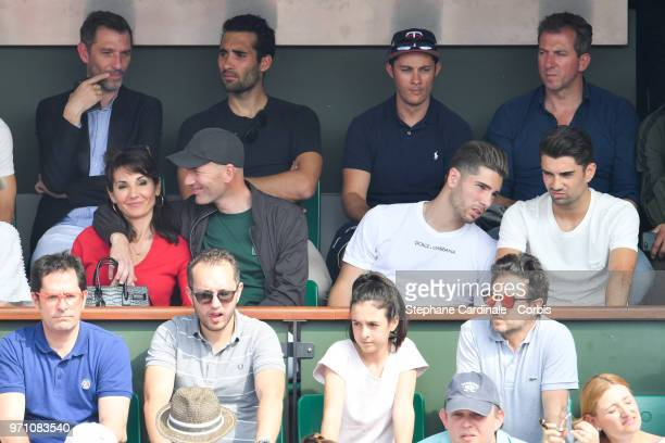 Veronique Zidane Zinedine Zidane and their childrens Lucas Zidane and Enzo Zidane attend the Men Final of the 2018 French Open Day Fithteen at Roland...