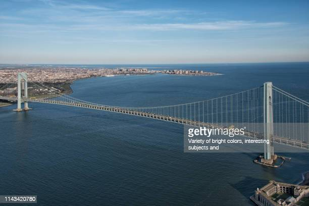 verrazano narrows bridge with brooklyn and coney island - staten island stock pictures, royalty-free photos & images