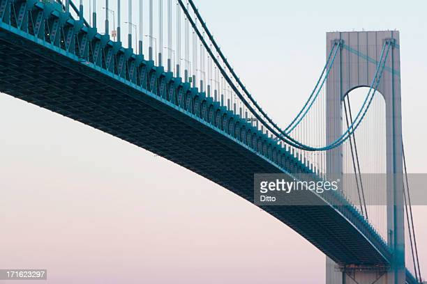 verrazano-narrows bridge at sunrise, new york city, usa - solid stock pictures, royalty-free photos & images