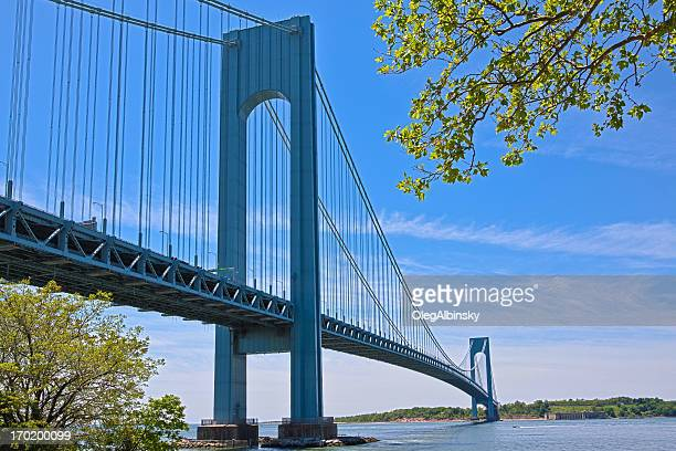 Verrazano-Narrows Bridge, New York. Clear blue sky with clouds.