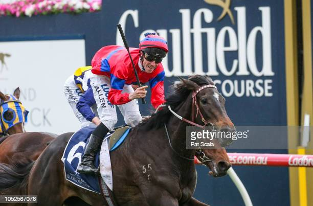 Verry Elleegant ridden by John Allen wins the New Zealand Bloodstock Ethereal Stakes at Caulfield Racecourse on October 20 2018 in Caulfield Australia