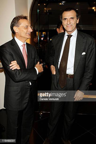 Versace CEO Giancarlo Di Risio and Ferdinando Brachetti Peretti attend the Versace Flagship Boutique opening in Via Veneto on October 29 2008 in Rome...