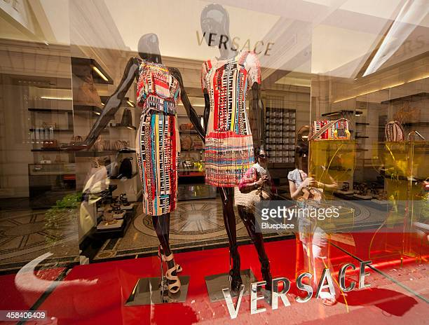 versace, shop window,  rome, italy - versace dress stock pictures, royalty-free photos & images