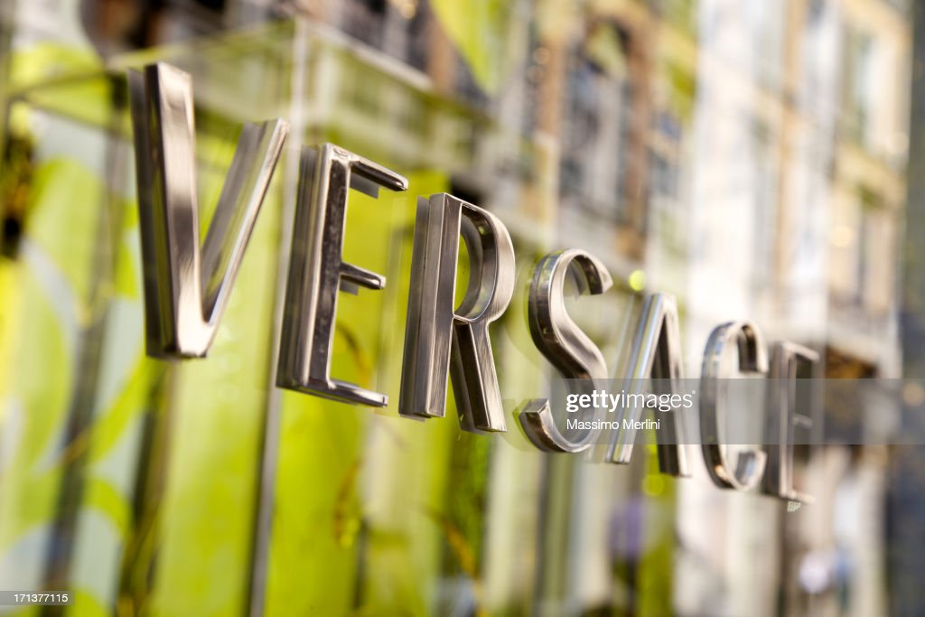 Versace Store Sign In Milan : Stock Photo