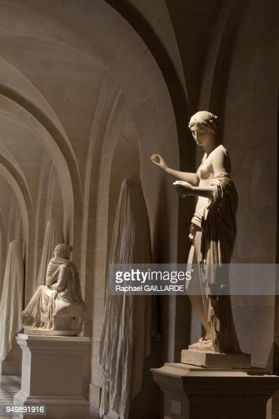 Versailles and the Classic ArtAphrodite marble statue from Praxitele about 360 BC called Venus d'Arles on the background marble statue Agrippine...