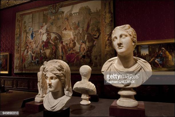 Versailles and the Classic Artmarble busts of Ceres and Niobe on the background left paint 'The triumph of Alexander' by Charles Le Brun on November...