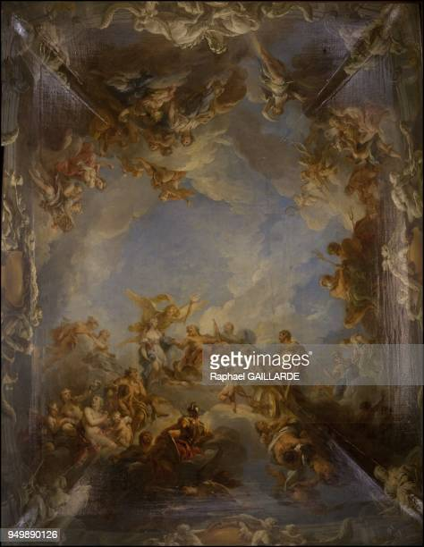 Versailles and the Classic ArtModel of the ceiling of the salon of Hercules Franois Lemoyne 16881737 on November 12 2012 in Versailles France