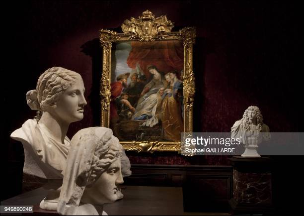 Versailles and the Classic Arton the left marble Cyrus bust in the center bust of Niobe at the background paint of Louis XIV Thomyris by Pierre Paul...
