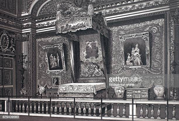 Versailles chambre er lit de louis 14 royal bedroom of louis the 14th france historic copperplate etching from 1860