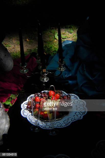 Verschiedene Speisen und Getränke auf einem gedeckten Tisch beim Viktorianischen Picknick im Rahmen des 23 WaveGotikTreffens in Leipzig